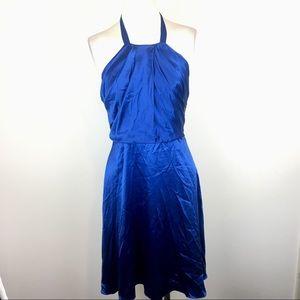 Betsey Johnson Blue 100% Silk Halter Dress 4